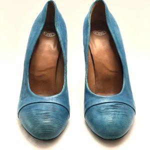 Dries Van Noten sea blue leather w/ metal heels